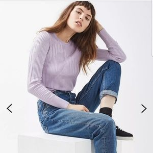 Topshop Ribbed Crop Sweater Lilac